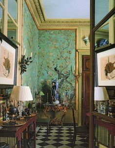 Pierre Berge's Paris apartment on Rue Bonaparte. View into the Dining Room from the Drawing Room. Photography by Ivan Terestchenko.