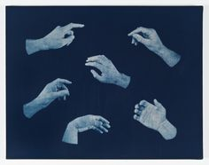 """Hands I  2012  cyanotype on stretched linen  25"""" x 32"""""""
