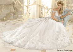 amalia carrara eve of milady 2014 off shoulder ball gown wedding dress style 328 ad