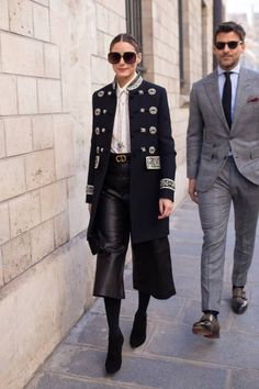 Olivia Palermo and Johannes Huebl are seen on the street attending CHRISTIAN DIOR during Paris Haute Couture Fashion Week wearing Dior on January 21...