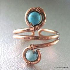 Adjustable Copper Turquoise Jasper Wire Wrap Finger Toe Ring - Lexi Butler Designs