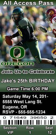 oregon duck birthday invitation   Oregon Ducks Football Theme Birthday Party Invitations Ticket Style ...