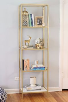 I want to do this to my IKEA bookcases. Spray paint an IKEA VITTSJO bookcase/shelving unit gold Decor Room, Diy Bedroom Decor, Living Room Decor, Ikea Hack Bedroom, Bedroom Ideas, Dining Room, Dining Table, Ikea Furniture Hacks, Living Room Furniture