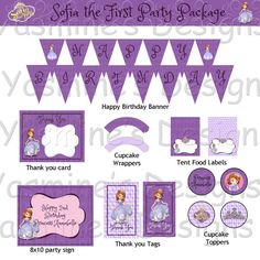 SALE 50 off  Sofia the First Party Package  by YasminesDesigns, $10.00