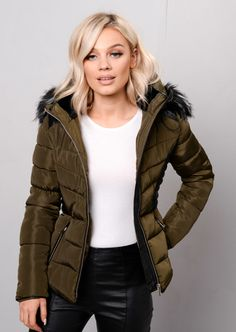 8088363db166 Faux Leather Panel Fur Hooded Padded Puffer Jacket Coat Khaki Green
