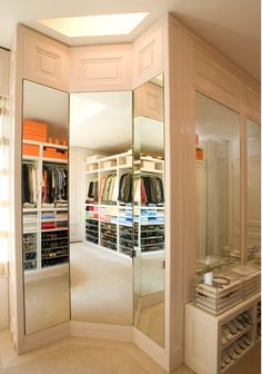 Three way mirror--that is the perfect accessory in a master closet.