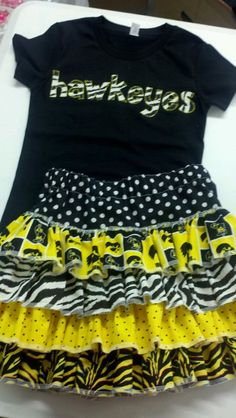 Iowa Hawkeye personalized tee and Ruffle skirt set by lileebees, $42.00