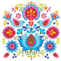 33 Ideas Polish Folk Art Tattoo Illustrations For 2019 Folk Embroidery, Learn Embroidery, Embroidery Patterns, Folk Art Flowers, Flower Art, Polish Folk Art, Scandinavian Folk Art, Scandinavian Embroidery, Arte Popular