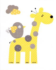 Yellow and Grey  Love Nursery Artwork Print by 3000yardsofthread
