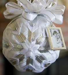 Quilted Ornament Ball/White and Silver   by YouniqueOrnaments, $27.00