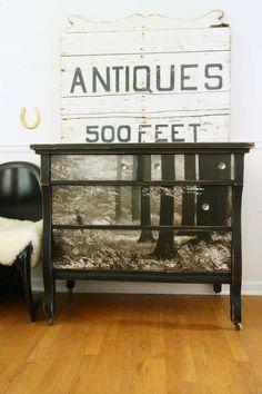 Finished wallpapered dresser