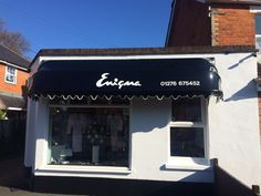 A new Dutch canopy in Wetlook black fabric for Enigma in Camberley by Deans Blinds And Awnings