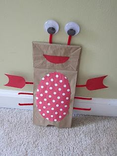 Under the Sea party craft idea - make crab or lobster hand puppets!