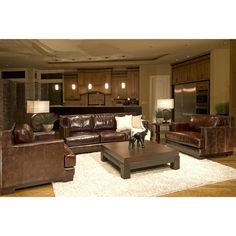 Emerson 3-Piece Top Grain Leather Collection in Saddle including 1-Sofa and 2-Standard Chairs - Sofa Sets at Hayneedle