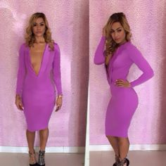2014 Celebirty Bandage Lady V-neck Knee-Length Long Sleeves Pink vintage Club Prom Dress Cocktail Special Occasion Party Dresses $11.99