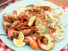 Grilled Lobster with Pernod-Caper Butter Recipe : Geoffrey Zakarian : Food Network Chicken Sauce Recipes, Grilled Steak Recipes, Sauce For Chicken, Grilling Recipes, Chicken Legs, Barbecue Recipes, Lobster Recipes, Seafood Recipes, Seafood Meals