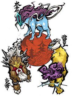 Okamified Suicune, Entei, and Raikou