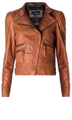Mango Tan Biker Leather Jacket, £214.90 | Look