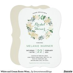 White and Cream Roses Wreath Bridal Shower Card