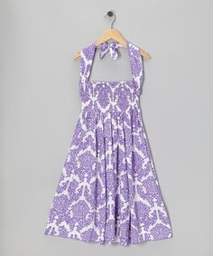 Take a look at this Purple Damask Shirred Infinity Dress by Infinity for Girls on #zulily today!