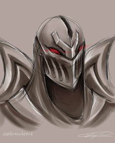 League of Legends - Zed Portrait Sketch by ambivartence.deviantart.com on @deviantART