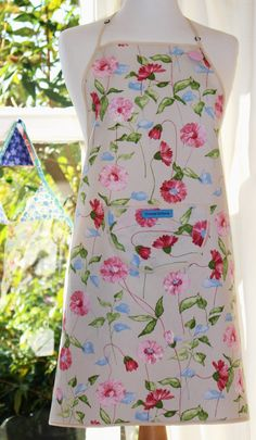 Wild Summer Flowers - Cream Edged, Floral Print Apron.  Women's Full Apron by FromeRiverStudios on Etsy