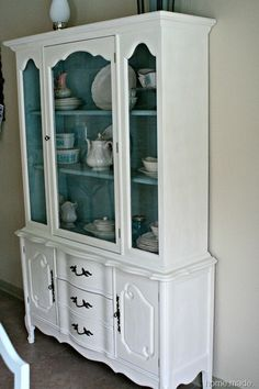 White And Aqua Dining Hutch