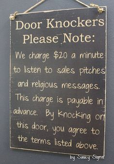 Door Knockers Black Sign - Wooden Door Jehovah Bar Man Cave Warning No Soliciting Welcome