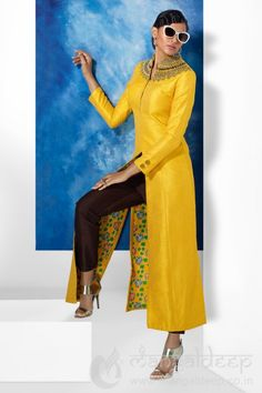 Yellow Silk Party Wear Readymade Pant Style Salwar Suit For more information :- Call us @+919377222211 (Whatsapp Available)