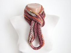 Crochet Scarf infinity  Burgundy grey orange Necklace Colorful Variegated Long Winter Accessories. $19.00, via Etsy.
