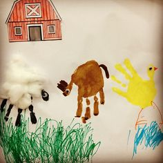 barn animals handprint #preschool #preschoolcraft #animalcraft