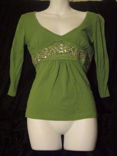 Pretty Charlotte Russe Green Embroidered And Sequin Trim Top M #CharlotteRusse #Vneck #Casual