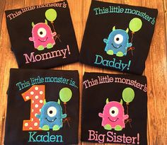 Custom little monster first birthday set with matching parent shirts