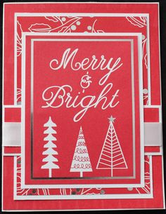 Hand Made, Christmas, Greeting, Cards, Holiday, Merry & Bright, Red, White by LibbysCraftStudio on Etsy