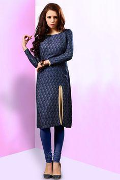 Navy blue simple printed reyon casual wear kurti 377