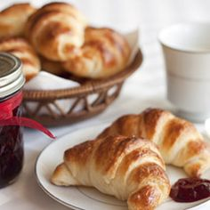 Golden brown, flaky, little croissants made with Julia Child's recipe and served with luscious homemade blackberry jam.