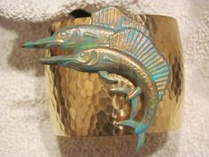 Cuff Bracelet: Large Swordfish Duo Cuff Bracelet in Gold and Patina Tones - Beach Jewelry - Nautical  $35