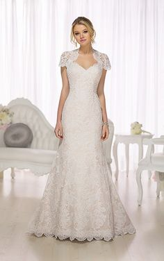 Wedding Dresses - Vintage Wedding Dress with Lace Illusion Jacket from Essense of Australia - Style D1692