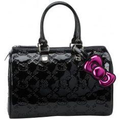 83db232cb4 Hello Kitty Black Patent Embossed City Bowler Handbag www.BagLane.com Hello  Kitty Purse