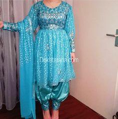 #blue #afghan #style #dress