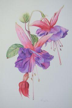 'Flamenco Dancer' Fuchsia original watercolor available from art@jennycoker.com