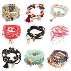 Colorful Beaded Bracelets Multi Layered Strand Bracelet For Women And Girls Gift