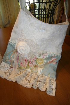 Shabby and Cottage Vintage Lace Purse/Bag Handmade by grandystrunk