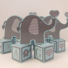 Elephant baby shower decorations, baby boy baby shower decorations, alphabet blocks, elephant theme party decorations