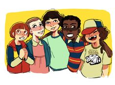 "Stranger Things art by jununy - ""i luv them"" (Will Byers, Eleven, Mike Wheeler, Lucas Sinclair, Dustin Henderson)"
