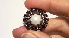 BeadsFriends: How to bezel a pearl using Seed beads and Delica beads | B...