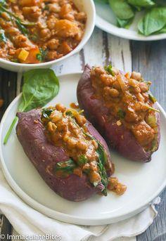 Stuffed sweet potatoes with chickpeas
