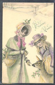QP017 MM VIENNE Nr203 MOTHER & DAUGHTER DEER MISTLETOE SNOW 1907