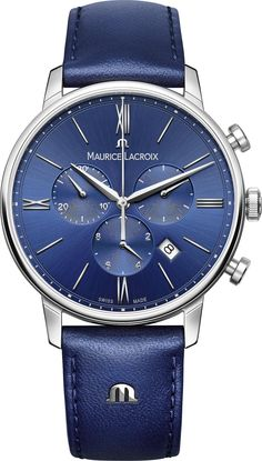 Maurice Lacroix Mens Eliros Chronograph Collection is an uncomplicated, contemporary take on classic watchmaking. Model # EL1098-SS001-410-1 is a 40mm polished stainless steel case that's elegant and