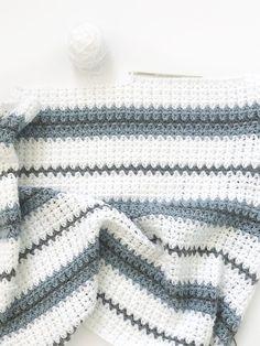 Easy Crochet Afghans Modern Double Crochet V-Stitch Blanket Pattern - Crochet Afghans, Baby Boy Crochet Blanket, Afghan Crochet Patterns, Crochet Blankets, Modern Crochet Blanket, Dishcloth Crochet, Baby Blankets, Crochet Double, Crochet For Boys